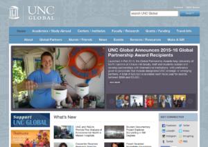 Screenshot of the global.unc.edu website