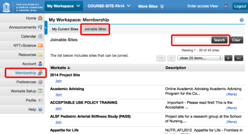 Screenshot showing the steps to join the Fulbright Sakai site